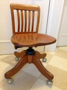 Antique Solid Oak 'Krug' Office Chair, adjusts and swivels, all