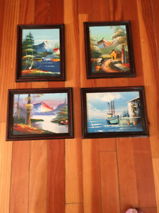 Japanese 4 Picture set in oil