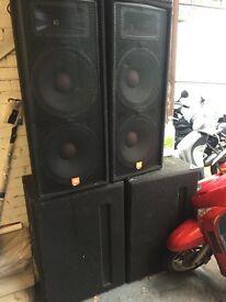 PA system. Sound system. JBL JRX 100. Jamo Sub bass. Pro sound Amps.