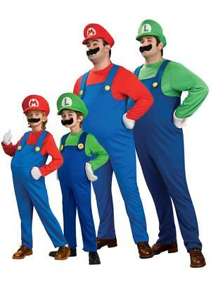MARIO BROS Costume SUPER Fancy Dress LUIGI Party Men Adult Dress Up '80 Game - Super Mario Dress Up Kostüm