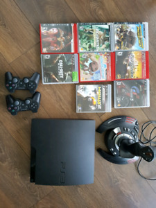 Play Station 3 + Flight controller + games