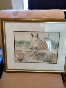 Framed picture of horses