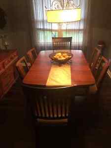 Vintage/Retro Walnut dining set with 6 chairs for sale