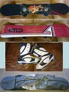 Limited LTD Hawk snowboard with bindings, boots, and carry bag.