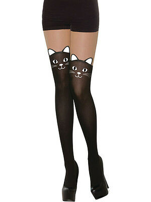 Ladies Cat Tights Halloween Witch Fancy Dress Outfit Accessory Dress Up Hen ()