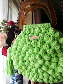 Handmade circular crocheted bag