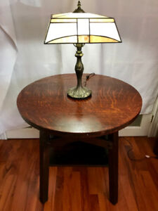 Antique mission lamp table