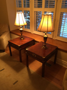 Two solid wood end tables with lamps $100