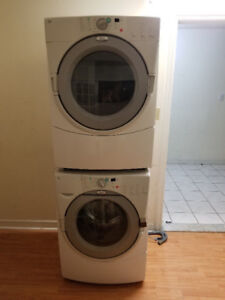 "Whirlpool white 27"" frontload washer electric dryer stackable"