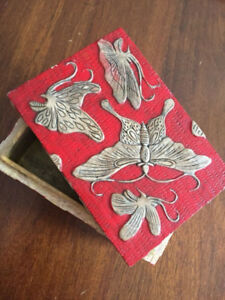 Hand carved red butterfly stone jewelry box from Vietnam