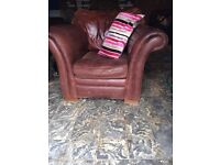4 leather chair plus 1 foot stool