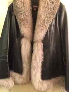 Danier Leather Jacket with real Fox fur London Ontario image 3