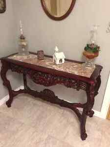 Beautiful side or sofa table in mahogany and marble