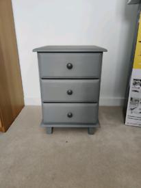 Pine Bedside Table - Grey