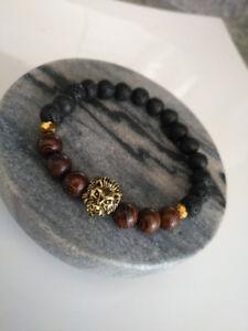 Stretchy Lion Head Lava Stone Bracelet