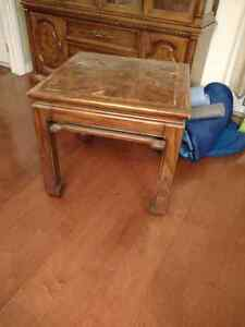 Oak table with inlays