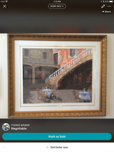 Framed artwork - Italian  cafe scene