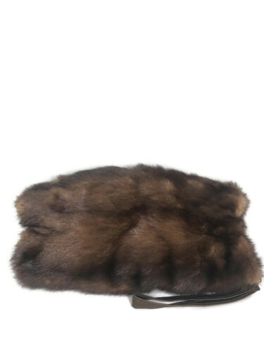 Upcycled One of a Kind Authentic Brown Mink Fur Muff with Brown Fabric Lining