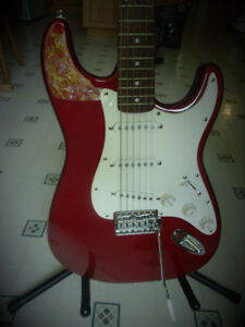 RED Fender Guitar with lots of Accessories