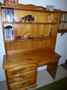 Solid Pine Desk, Hutch and Chair