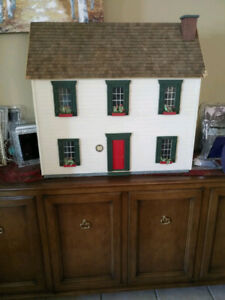 GORGEOUS Antique Two Level Dollhouse -NEWLY Painted-W/ FURNITURE