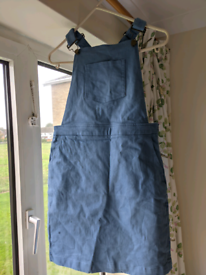 Sky blue dungaree dress size 8