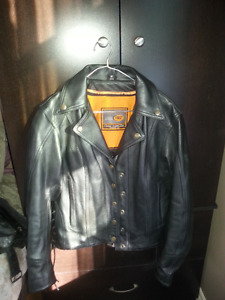 Ladies Motorcycle Leather Jacket & Chaps with Rain Gear