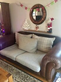 Degas leather & fabric large sofa & chairs.