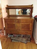 Antique hutch made of solid wood