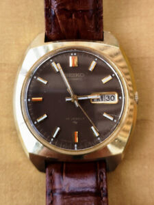 Vintage SEIKO 7006 7059 automatic Brown DIAL DAY Date SS Case Go