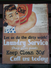 Metal Wall Sign Laundry Advert