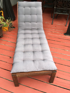Solid wrought iron/teak wood lawn chair