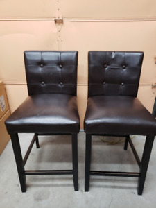 "6 Brown leather chairs-24"" seat height"