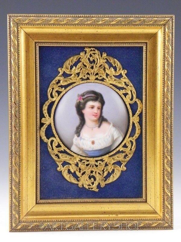 Antique BRONZE & WOOD FRAME ENAMEL PAINTING PORCELAIN PLAQUE PORTRAIT LADY GIRL