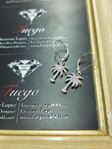 New Sterling Silver Palm Tree Earrings