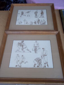 "Two framed Football Prints by Robert Riger 16 1/2"" x 14 1/2"""