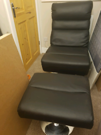Argos home costa swivel chair faux leather black