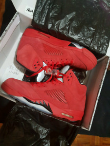 Red suede jordan 5s size 11.5