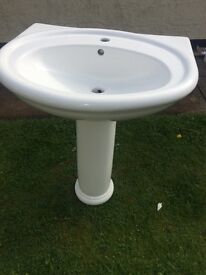 Victoria Plum Sink, Pedestal and tap. New and unused in white