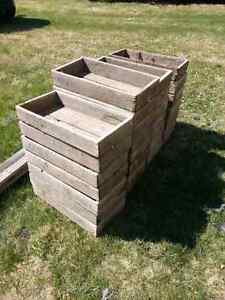 Old wooden tomato crates.