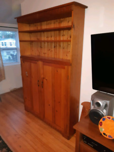 Solid wood shelving unit with doors