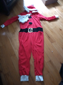 2 Men's Santa onesie with beard this is new with tags size s/m + L/XL