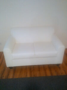 White Leather Loveseats