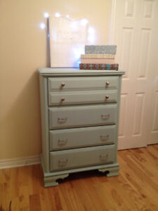 Beautiful serenity blue dresser and night stand.