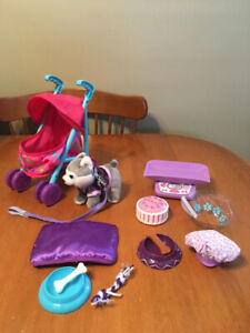 """18"""" doll huskie journey girls dog with accessories and stroller"""