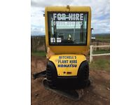 Mini digger 1.5ton for hire. £65 per day no hidden fees!