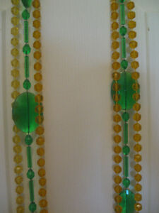 TWO VINTAGE LONG ELEGANT GOLD / GREEN GLASS WIND CHIMES