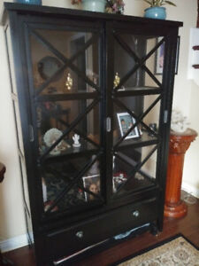 Black curio cabinet - with display light