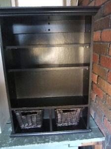 cabinet shelf with 2 removable baskets has 3 shelves