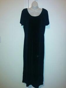 Simple, Black, Crushed Velvet Evening Gown w/ Back Slit